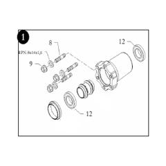 Voorwielklos KF 85×25 mm zwart / Lager / Wielmoer / Tapeind